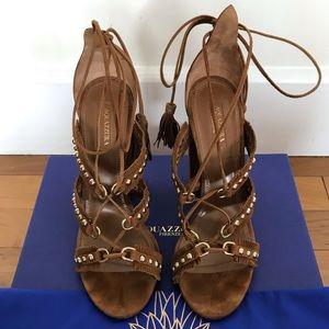 Aquazzura Tulum Cognac Suede Sandal